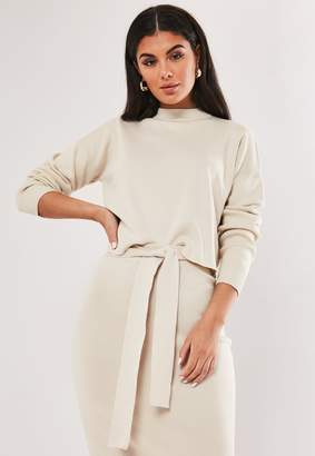 Missguided Cream Co Ord Funnel Neck Cropped Jumper