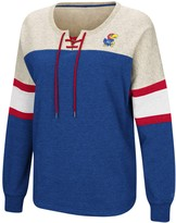 Colosseum Women's Royal Kansas Jayhawks Become Great Lace-Up Pullover Fleece Sweatshirt