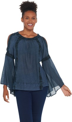Du Jour Bell Sleeve Bateau Neck Woven Top with Lace Detail