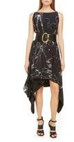 Alexander McQueen Dancing Girls Asymmetrical Silk Crepe de Chine Midi Dress