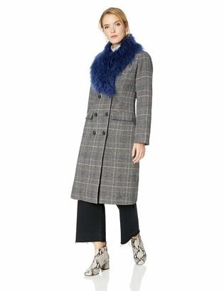 GUESS Women's Long Sleeve Nieve Plaid Coat