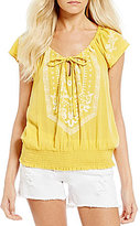 O'Neill Anya Embroidered Flutter Sleeve Top