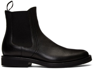 Dries Van Noten Black Pebbled Chelsea Boots