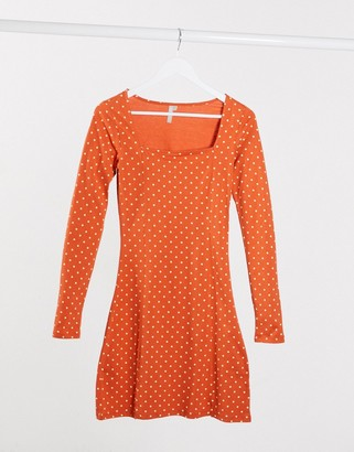 Pieces square neck midi polka dress