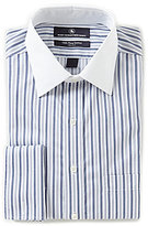 Hart Schaffner Marx Non-Iron Fitted Classic-Fit Spread-Collar Stripe Dress Shirt With French Cuffs