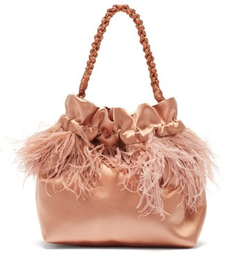 Montunas Ostrich Feather-trimmed Satin Drawstring Pouch - Pink