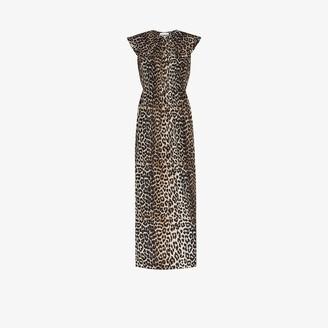 Ganni Leopard Print Puritan Collar Midi Dress