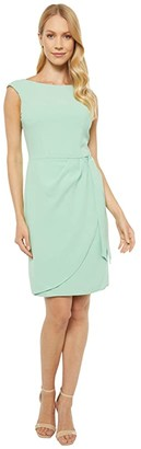 Adrianna Papell Cameron Crepe Draped Tie Dress (Spring Green) Women's Dress