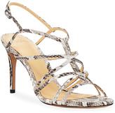 Alexandre Birman Emma Python Caged Mid-Heel Sandals