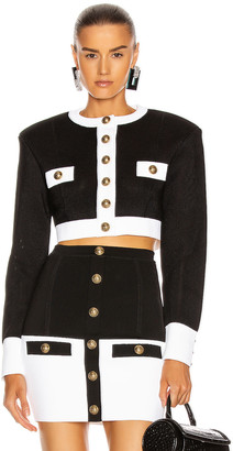 Balmain Button Knit Jacket in Noir & Blanc | FWRD