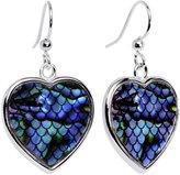 Body Candy Blue Green Mermaid Scale Heart Fishhook Earrings