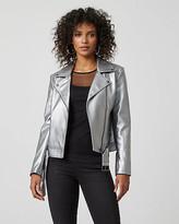Le Château Metallic Faux Leather Motorcycle Jacket