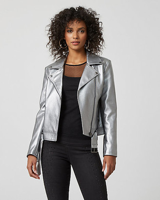 Le Château Metallic Faux Leather Motorcycle Jacket