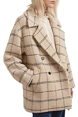 Gerard Darel Selia Double-Breasted Checkered Coat