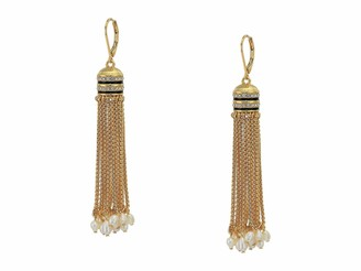 Vince Camuto Lever Tassel Earrings Gold/Jet Black/Crystal/Ivory Pearl One Size