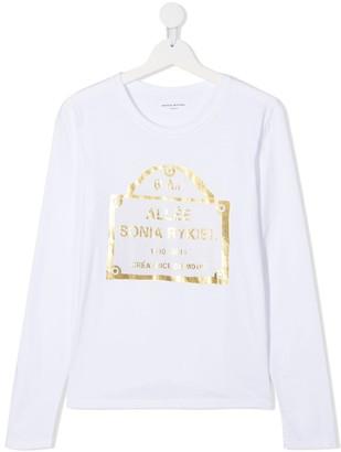 Sonia Rykiel Enfant TEEN metallic logo print T-shirt