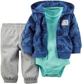 Carter's 3 Piece Cardigan Set (Baby) - Blue Hawaiin-12 Months