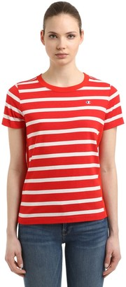 Champion Logo Detail Striped Cotton T-shirt