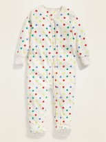Old Navy Polka-Dot Micro Performance Fleece Footie Pajama One-Piece for Toddler Girls & Baby