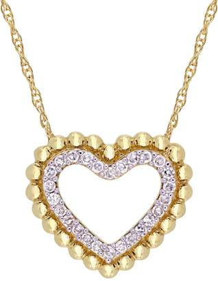 Everly 10K Yellow Gold 0.12 CT. T.W. Diamond Open Heart Halo Necklace