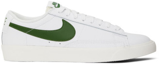 Nike White and Green Leather Blazer Low Sneakers
