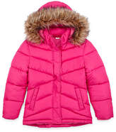 Arizona Big Kid - Girls Plus Hooded Fleece Lined Faux Fur Trim Heavyweight Puffer Jacket