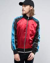 Asos Zip Through Track Jacket With Colour Block Detail In Red