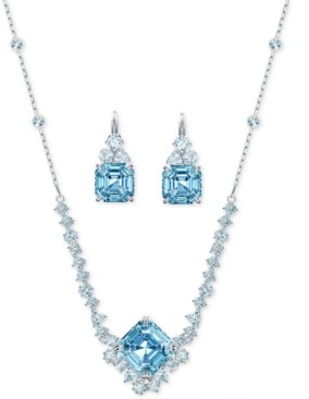 Swarovski Silver-Tone 2-Pc. Set Square Crystal Pendant Necklace & Coordinating Leverback Earrings
