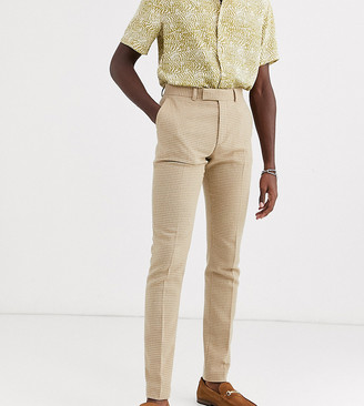 Asos Design DESIGN Tall skinny smart trousers in wool mix camel houndstooth check-Beige
