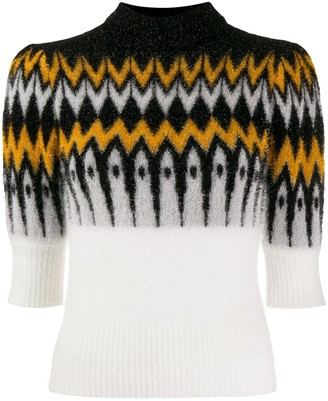 Laneus contrast panel knit sweater