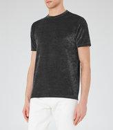 Reiss Reiss Mars - Velour T-shirt In Black, Mens