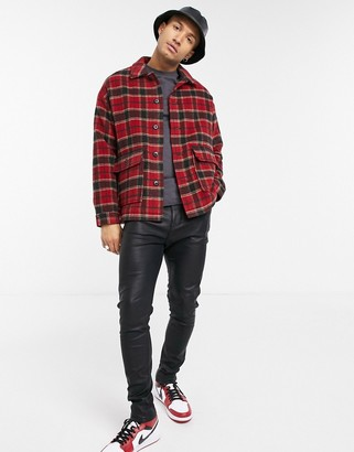 ASOS DESIGN wool shacket in red tartan check