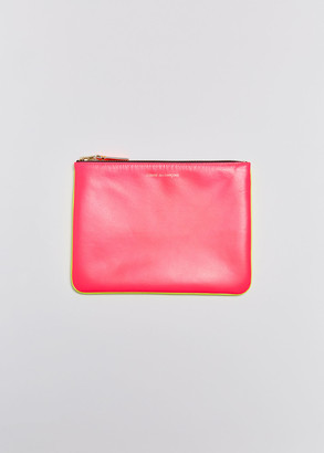 Comme des Garcons Women's Super Fluo Leather Line Zip Pouch in Pink/Yellow