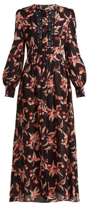 Dundas Black Silk Georgette Midi Dress - Womens - Black Pink