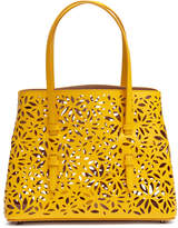 Alaia Yellow laser-cut leather small tote