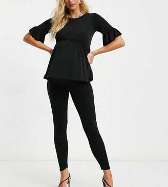 Flounce London Maternity Flounce Maternity over-the-bump supersoft leggings in black