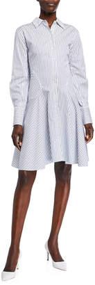 Jason Wu Striped Long-Sleeve Button-Front Cotton Dress