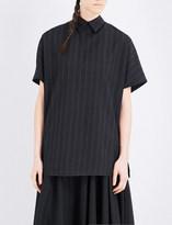 Yohji Yamamoto Lace-up pinstripe-print gabardine top