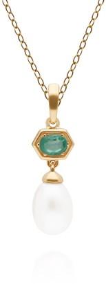 Gemondo Modern Pearl & Emerald Pendant in Yellow Gold Plated Silver
