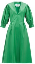 MSGM V-neck Faux-leather Midi Dress - Womens - Green
