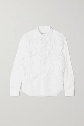 Comme des Garçons Comme des Garçons Ruffled Cotton-poplin Shirt - White