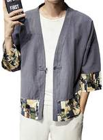 Hzcx Fashion Men's Cotton Blends Linen Short Cloak Kimono Jackets Big And Tall QT4021-F005-60-DGR- TAG L