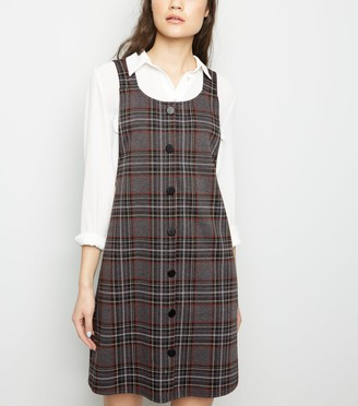 New Look Light Check Button Front Pinafore Dress