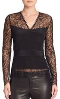 Yigal Azrouel Long-Sleeve Lace Top