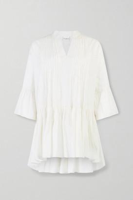 Evarae Loli Ruffled Cotton And Silk-blend Mini Dress - White