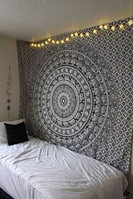 Elephant Tapestry Wall Hanging - Black & White Mandala Hippy Tapestries Twin Indian Hippie Beach Throw College Dorm Decor Bohemian Boho Bedspread sheet - 84 X 54 Inches