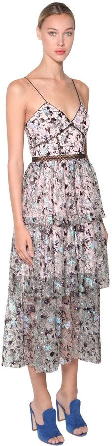 Self-Portrait Azelea Embellished Midi Dress