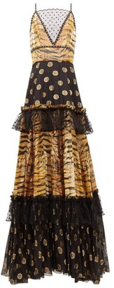 Dundas Mesh-insert Zebra Polka-dot Fil-coupe Tiered Gown - Black Gold
