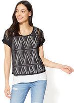New York & Co. Lace-Overlay Cuffed-Sleeve Tee