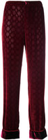 F.R.S For Restless Sleepers embossed velvet style cuffed trousers